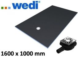 Shower tray to be tiled, rectangular, flow ex-centered - wedi Fundo Primo 1600 x 1000  mm