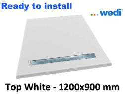 Wedi shower tray with ready-to-install surface Solid Surface type Corian, drain channel - wedi Fundo Top Riolito neo 1200x900 mm white