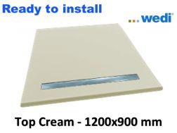 Wedi shower tray with ready-to-install surface Solid Surface type Corian, drain channel - wedi Fundo Top Riolito neo 1200x900 mm cream