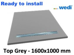 Wedi shower tray with ready-to-install surface Solid Surface type Corian, drain channel - wedi Fundo Top Riolito neo 1600x1000 mm grey