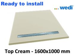 Wedi shower tray with ready-to-install surface Solid Surface type Corian, drain channel - wedi Fundo Top Riolito neo 1600x1000 mm cream