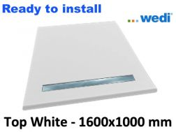 Wedi shower tray with ready-to-install surface Solid Surface type Corian, drain channel - wedi Fundo Top Riolito neo 1600x1000 mm white