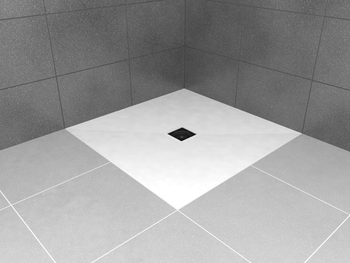 wedi shower tray with surface solid surface type corian drain