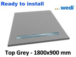 Wedi shower tray with ready-to-install surface Solid Surface type Corian, drain channel - wedi Fundo Top Riolito neo 1800x900 mm grey