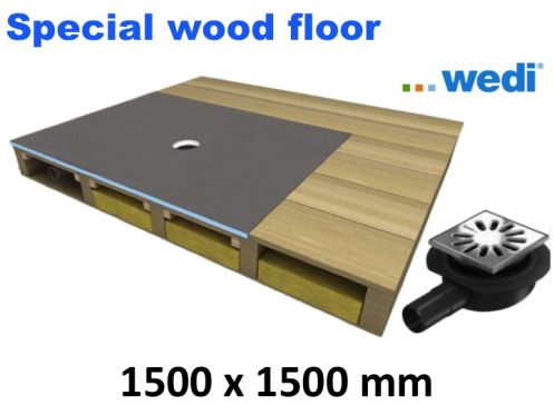 Shower tray to be tiled, for wooden floor, centered flow - wedi Fundo Ligno 1500 x 1500 mm