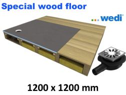 Shower tray to be tiled, for wooden floor, Eccentric flow - wedi Fundo Ligno 1200x1200 mm