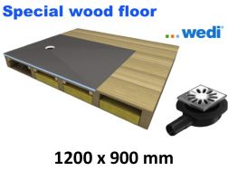 Shower tray to be tiled, for wooden floor, Eccentric flow - wedi Fundo Ligno 1200x900 mm