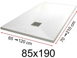 Shower tray - 85x190 cm - 850x1900 mm - in mineral resin, extra flat - White PIERRE