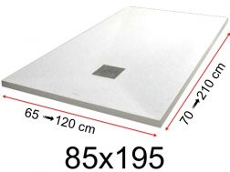 Shower tray - 85x195 cm - 850x1950 mm - in mineral resin, extra flat - White PIERRE