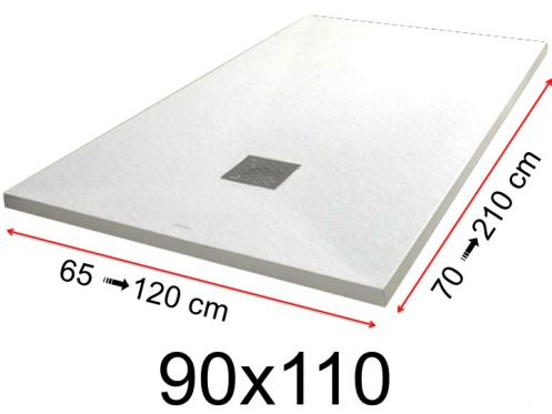 Shower tray - 90x110 cm - 900x1100 mm - in mineral resin, extra flat - White PIERRE
