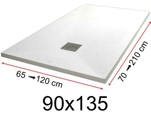 Shower tray - 90x135 cm - 900x1350 mm - in mineral resin, extra flat - White PIERRE
