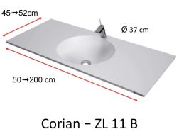 Worktop toilet with round basin type Corian, in mineral resin Solid Surface - ZL11B