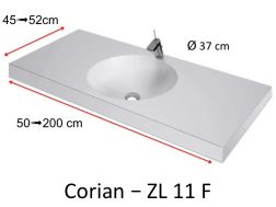 Worktop toilet with round basin type Corian, in mineral resin Solid Surface - ZL11F