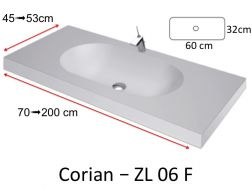 Worktop with integrated Corian washbasin, in mineral resin Solid Surface - ZL06F
