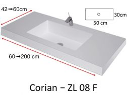 Worktop with integrated Corian washbasin, in mineral resin Solid Surface - ZL08F