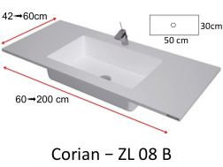 Worktop with integrated Corian washbasin, in mineral resin Solid Surface - ZL08B