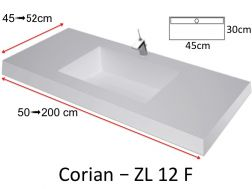 Wash basin type Corian, mineral resin Solid Surface -  ZL12F