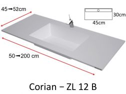 Wash basin type Corian, mineral resin Solid Surface - ZL12B