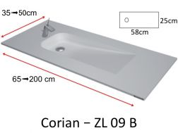 Vanity top with eccentric flow type Corian, in mineral resin Solid Surface - ZL09B