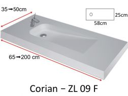 Vanity top with eccentric flow type Corian, in mineral resin Solid Surface - ZL09F