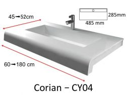 Solid-Surface toilet top, mineral resin type Corian - Puzzle Acrymold gutter CY04, white.