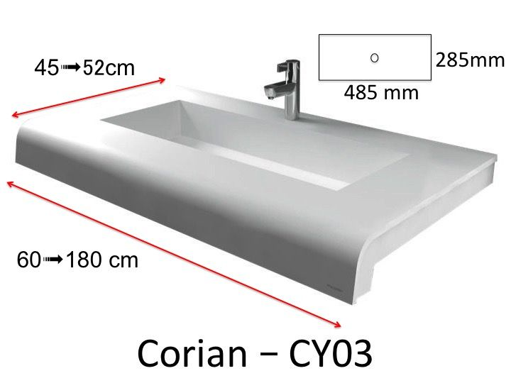 washbasin Corian (Type) - Solid-Surface toilet top, mineral resin ...