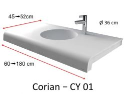 Solid-Surface toilet top, mineral resin type Corian - Puzzle Acrymold CY01, white.