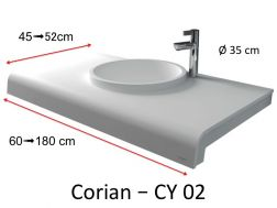 Solid-Surface toilet top, mineral resin type Corian - Puzzle Acrymold CY02, white.