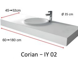 Solid-Surface toilet top, mineral resin type Corian - Puzzle Acrymold IY02, white.Vanity Solid Surface, 60 x 45 cm resin Puzzle Acrymold IY01, white.