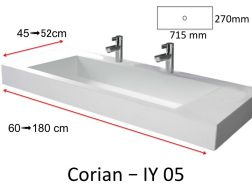 Solid-Surface toilet top, mineral resin type Corian - Puzzle Acrymold IY02, white.Vanity Solid Surface, 60 x 45 cm resin Puzzle Acrymold IY05, white.