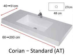 Worktop with integrated Corian washbasin, in mineral resin Solid Surface - HYDRA Standard AT