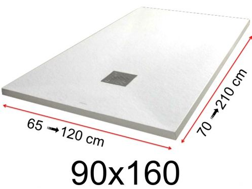 Shower tray - 90x160 cm - 900x1600 mm - in mineral resin, extra flat - White PIERRE