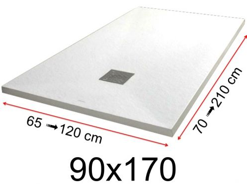 Shower tray - 90x170 cm - 900x1700 mm - in mineral resin, extra flat - White PIERRE