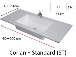 Worktop with integrated Corian washbasin, in mineral resin Solid Surface - HYDRA Standard ST