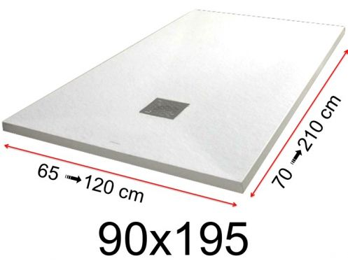 Shower tray - 90x195 cm - 900x1950 mm - in mineral resin, extra flat - White PIERRE