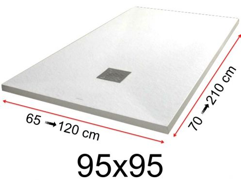 Shower tray - 95x95 cm - 950x950 mm - in mineral resin, extra flat - White PIERRE
