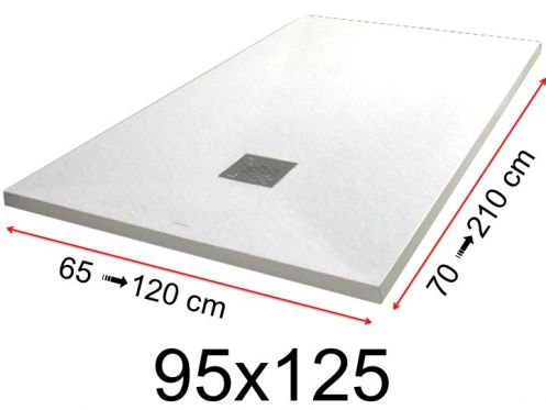 Shower tray - 95x125 cm - 950x1250 mm - in mineral resin, extra flat - White PIERRE