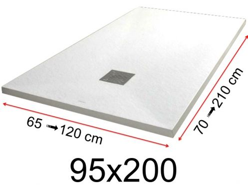 Shower tray - 95x200 cm - 950x2000 mm - in mineral resin, extra flat - White PIERRE