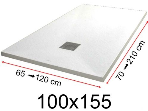 Shower tray - 100x155 cm - 1000x1550 mm - in mineral resin, extra flat - White PIERRE