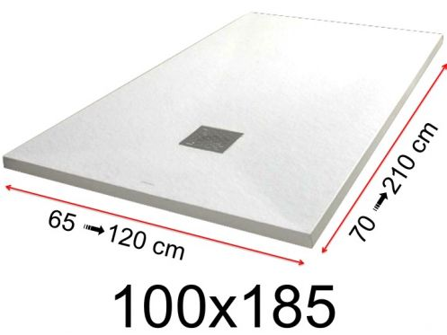 Shower tray - 100x185 cm - 1000x1850 mm - in mineral resin, extra flat - White PIERRE