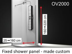 Fixed shower screen 65 x 195 cm, custom made, 6mm safety glass, with anti-kal treatment, reversible - OV2000
