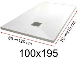 Shower tray - 100x195 cm - 1000x1950 mm - in mineral resin, extra flat - White PIERRE