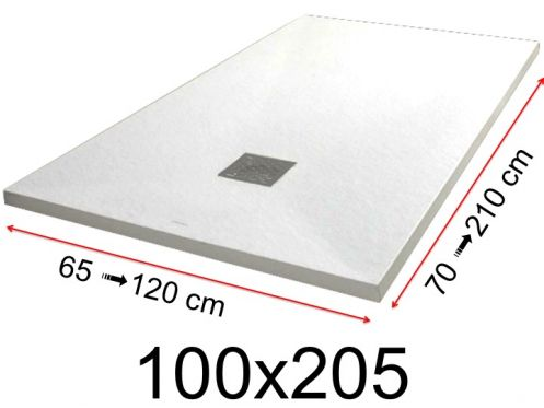 Shower tray - 100x205 cm - 1000x2050 mm - in mineral resin, extra flat - White PIERRE