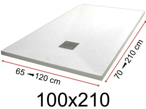 Shower tray - 100x210 cm - 1000x2100 mm - in mineral resin, extra flat - White PIERRE