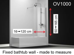 Fixed bathtub screen 60 x 150 cm to measure, safety glass 6mm, with anti-kalk treatment, reversible - OV1000