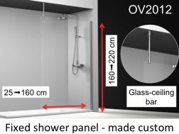 Fixed shower screen 130x195 cm, custom-made, ceiling mounting bar, 6mm safety glass, with anti-kalk treatment, reversible - OV2012