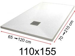 Shower tray - 110x155 cm - 1100x1550 mm - in mineral resin, extra flat - White PIERRE