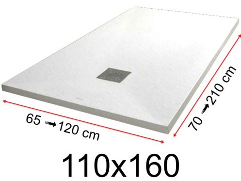 Shower tray - 110x160 cm - 1100x1600 mm - in mineral resin, extra flat - White PIERRE