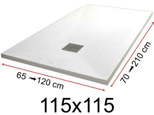 Shower tray - 115x115 cm - 1150x1150 mm - in mineral resin, extra flat - White PIERRE