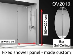 Fixed shower screen 25x195 cm, custom-made, stabilizer bar fixing from floor to ceiling, 6mm safety glass, with anti-limescale treatment, reversible - OV2013